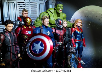 Bangkok, Thailand - March 2,2019: A setting of Avenger team action figures from Avenger Marvel comic.