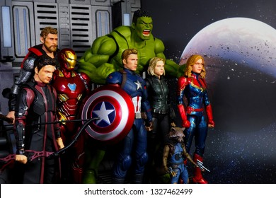 Bangkok, Thailand - March 2,2019: A setting of Avenger team action figures from Avenger Marvel comic.