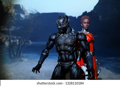Bangkok, Thailand - March 2,2019: A setting of Black Panther and Nakia action figure from Black Panther Marvel comic.