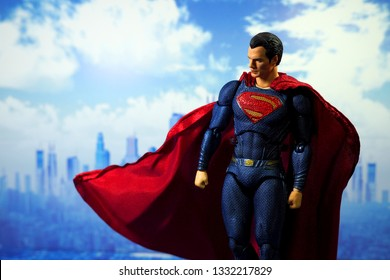 Bangkok, Thailand - March 2,2019: A setting of Superman action figure from DC comic.