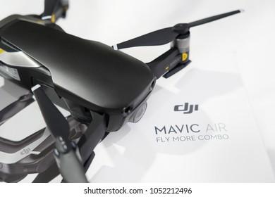 BANGKOK, THAILAND- MARCH 22:Close-up on the DJI Mavic Air Drone on March 22,2018