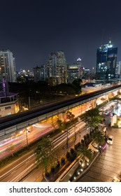 BANGKOK, THAILAND - MARCH 23, 2017: Scenic view of skyscrapers and Sukhumvit Road in downtown Bangkok, Thailand, at night from above.