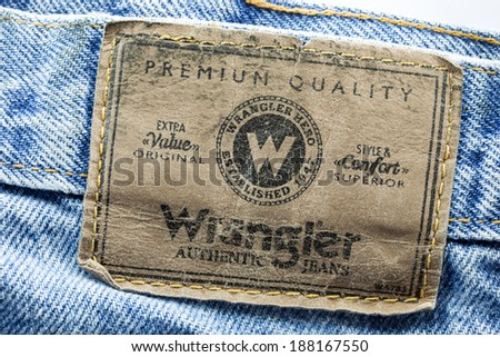 69078673 BANGKOK, THAILAND - March 24, 2014: Closeup of wrangler leather jeans label  sewed
