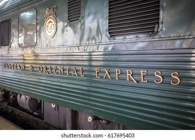 BANGKOK, THAILAND - MARCH 24, 2017: Eastern & Oriental Express at Hualamphong Station in Bangkok, Thailand on March 24, 2017.
