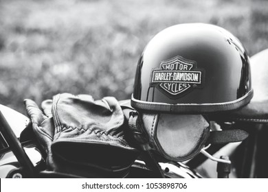 Bangkok - Thailand March 24, 2018 the helmet and the gloves - bikers accessories on the motorcycle seat