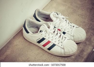 BANGKOK, THAILAND - MARCH 24, 2018 : Adidas original classic Red, White and