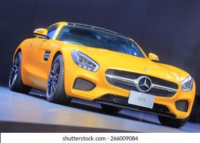 BANGKOK, THAILAND - MARCH 24 : Yellow Mercedes Benz GTS displayed at the 36th Bangkok International Motor show  in March 24, 2015. Bangkok, Thailand