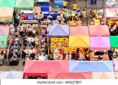 Bangkok, Thailand - March 25, 2016: Night market train a second-hand market, back of Esplanade Ratchadapisek Department store