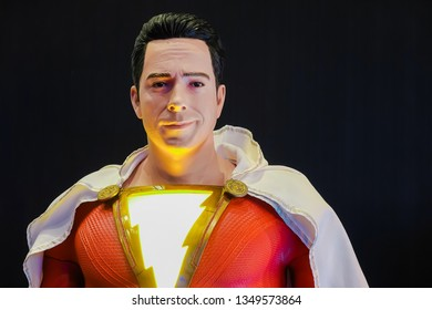 Bangkok, Thailand - March 25, 2019: Shazam Model With a beautiful standee of a movie called Shazam display showing at cinema