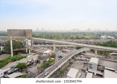 Bangkok, Thailand - March 25, 2019 : Bangkok Mass Rapid Transit - Green Line Extension, BTS North Project, Mo Chit – Saphan Mai – Khu Khot, Construction site in section at Five Ladprao Intersection