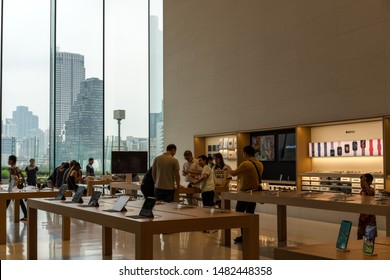 BANGKOK, THAILAND - March 25 2019: Apple Iconsiam located at the second floor in Iconsiam shopping mall, Bangkok. The first Apple store in Thailand.