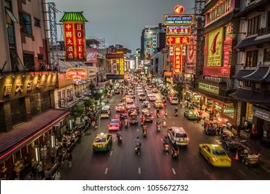 BANGKOK, THAILAND - MARCH 26, 2018: Evening at the Yaowarat street in Chinatown, Bangkok, Thailand.