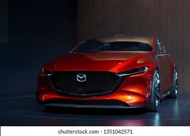 Bangkok, Thailand - March 26, 2019 : All New Mazda 3 KAI concept car on display in 40th Bangkok International Motor Show 2019 at Muang Thong Thani, Thailand