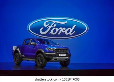 BANGKOK, THAILAND : March 26, 2019 – New Ford Ranger Raptor blue color on display in 40th Bangkok International Motor Show 2019 at Muang Thong Thani, Nonthaburi, Thailand
