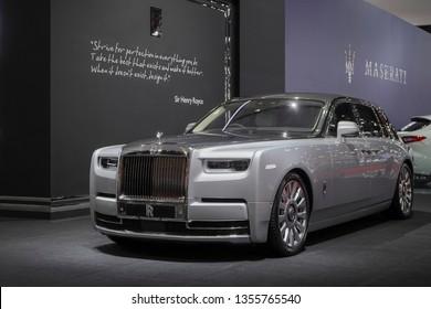 Bangkok, Thailand - March 26, 2019 : Rolls- Royce new Phantom 2019 Super Luxury car on display in 40th Bangkok International Motor Show 2019 at Thailand