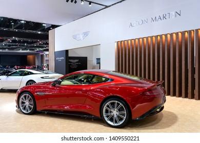 Bangkok, Thailand - March 26, 2019 : Aston Martin Superleggera DBS Super car on display in 40th Bangkok International Motor Show 2019 at Thailand