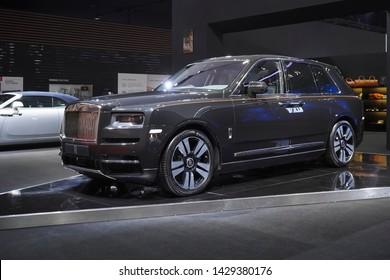 Bangkok, Thailand - March 26, 2019 : Rolls Royce Cullinan Supreme Liberty Super Luxury car on display in 40th Bangkok International Motor Show 2019 at Thailand