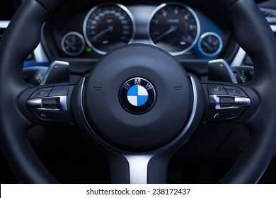 BANGKOK, THAILAND. MARCH 26 : Steering of BMW at THE 35th BANGKOK INTERNATIONAL MOTOR SHOW in Bangkok, Thailand on March 26, 2014