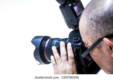 Bangkok, Thailand - March 26th, 2019: Canon EOS 5D Mark III and Len Canon EF 24-70mm f/2.8L II USM  Closeup Tested by Photographers at Bangkok International Motor Show 2019