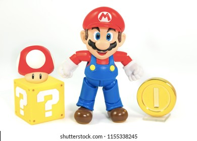 Bangkok, Thailand - March 27, 2016 : Super Mario Bros figure character from Super Mario video game console developed by Nintendo EAD.