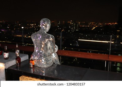 Bangkok, Thailand - March 27, 2018: The Mode Sathorn hotel skybar. This is a  popular tourist attraction in the city.