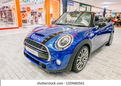 BANGKOK, THAILAND - MARCH 27: The Mini Convertible is car front with round light and blue and black shiny colors on display at the Department store on March 27, 2019 in Bangkok, Thailand.