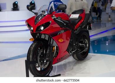 Bangkok, Thailand - March 28, 2014: Yamaha motorcycle new model presented in Bangkok Motor Show 2014