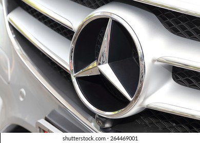 BANGKOK, THAILAND - MARCH 28, 2015: Logo of  Mercedes-Benz  2015 on March 28 2015 inBangkok Thailand.