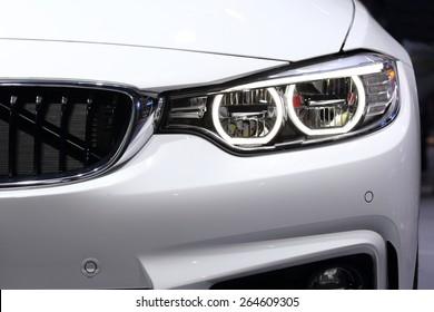 BANGKOK, THAILAND - MARCH 28, 2015: close up of front view of  BMW car  on March 28 2015 in Bangkok Thailand.