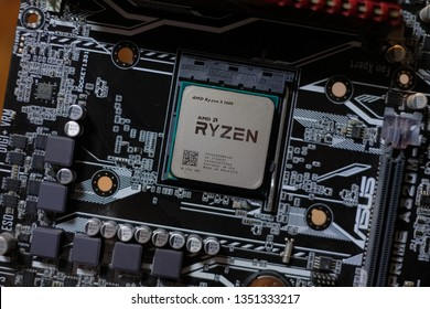 Bangkok, Thailand - March 28, 2019 : Close-up of AMD Ryzen 5 1600 CPU on motherboard. It is a high-performance microprocessor introduced by AMD