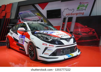 Bangkok, Thailand - March 28, 2019 : Toyota C-HR racing concept of GR or Toyota Gazoo Racing Team Thailand on display in 40th Bangkok International Motor Show 2019 at Thailand