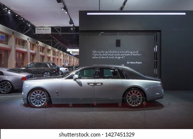 Bangkok, Thailand - March 28, 2019 : Rolls- Royce new Phantom 2019 Super Luxury car on display in 40th Bangkok International Motor Show 2019 at Thailand