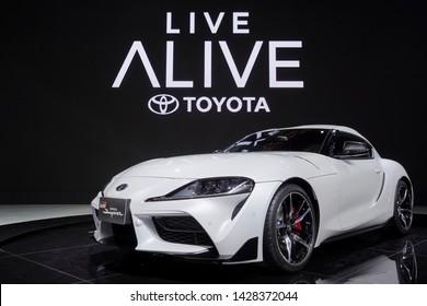 Bangkok, Thailand - March 28, 2019 : Toyota Supra GR Supercar white color on display in 40th Bangkok International Motor Show 2019 at Thailand