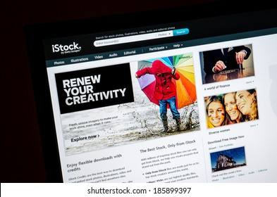 Bangkok, Thailand - March 29, 2014: Close up of iStockphoto\'s main page on the web browser. iStockphoto is the world's leading online microstock photography provider founded by Bruce Livingstone
