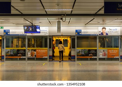 BANGKOK THAILAND - MARCH 29, 2019: People are waiting for a subway ride. At MRT Silom Station, Transportation of the Bangkok Mass Rapid Transit on MRT is convenient transportation to travel around cen