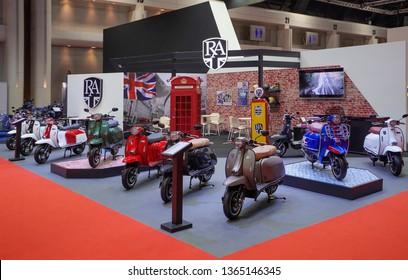 Bangkok, Thailand - March 29, 2019 : Group of the Vespa Piaggio vintage the classic motorcycle bike on display in 40th Bangkok International Motor Show 2019 at Thailand