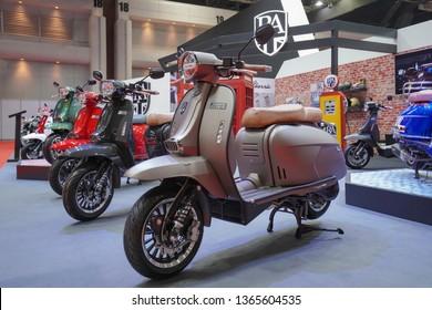 Bangkok, Thailand - March 29, 2019 : Vespa Piaggio vintage the classic motorcycle bike on display in 40th Bangkok International Motor Show 2019 at Thailand