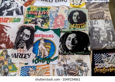 BANGKOK, THAILAND, - MARCH 3 2018: A rare T-shirt was shown in Rag and Display wear the music festival at The Bangkok Dock Company.