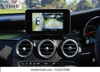 BANGKOK, THAILAND - MARCH 3, 2018: Mercedes-Benz GLC250d AMG Sport Coupe with new option on navigation screen display that show 360 degree view camera of car.
