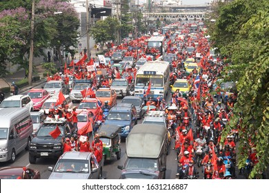 Bangkok, Thailand - March 30, 2010: Red Shirt Protesters gather on Phetchaburi Road in Bangkok. The 2010 Thai political protests were a series of political protests against Thailand's Democrat Party.