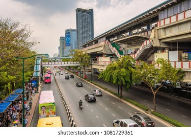 Bangkok, Thailand - March 30, 2018 : Mo Chit Skytrain Station in Bangkok. Skytrain, also known as BTS, is a popular elevated transit system in Bangkok.