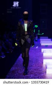 "Bangkok, Thailand - March 30, 2019 ; Model walks in Fashion Show of Spring Summer in ""Bangkok International Fashion Week 2019"", BIFW'19, Runway present Brand ""Absolute Siam"" at Siam Paragon"