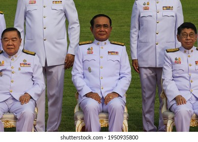 Bangkok, Thailand  - March 30, 2021: Thai Prime Minister Prayut Chan-o-cha (C) and his cabinet pose during a group photo after a cabinet reshuffle, at Government House.