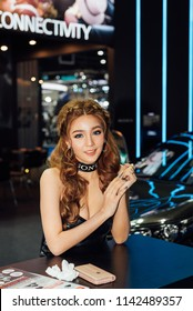 Bangkok, Thailand - March 31, 2018 : Unidentified model pretty lady beauty and sexy on display in car show event. This a open event no need press credentials required.