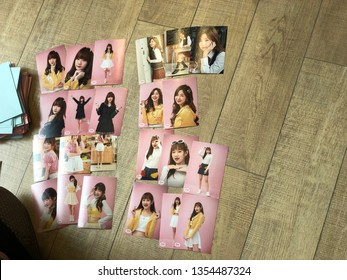 Bangkok, Thailand - March 31,2019: pop idol photoset or Thai pop idol 'Cm Cafe' official goods and merchandise and photoset. Sweat16 is a girl pop idol group of Thailand like BNK48 or 7th sense.