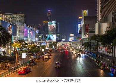 Bangkok, Thailand - March 4, 2017: Night view at Ratchadarmi street in Bangkok, Thailand