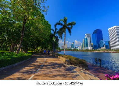 Bangkok, Thailand - March 4, 2018: unidentified visitors are running in Benjakitti park in Bangkok on March 4, 2018