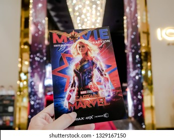 Bangkok, Thailand - March 4, 2019: Movie poster of Captain Marvel showing at cinema, a Marvel superhero movie.