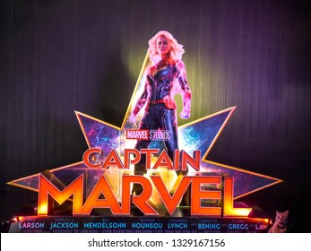 Bangkok, Thailand - March 4, 2019:: View of standee Captain Marve or Carol Danvers stars by Brie Larson displays showing at cinema, a Marvel superhero movie.
