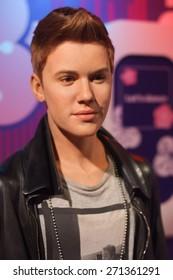 BANGKOK THAILAND - MARCH 5, 2015: Justin Bieber waxwork figure -Madame Tussauds Siam discovery